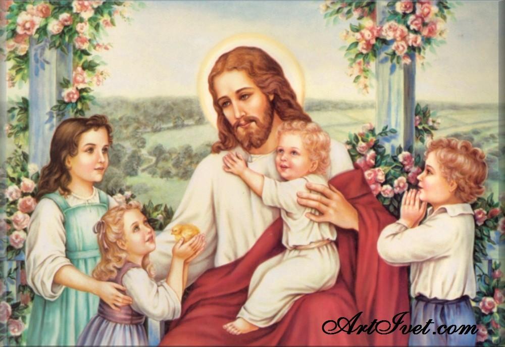 Диамантен гоблен ИСУС ПАЗИ ДЕЦАТА: Размер и Вид - Квадратни диаманти 39х26