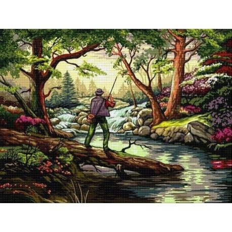 Гоблен На риболов в гората