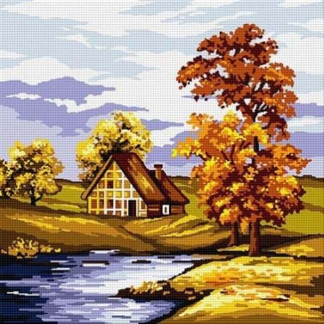 Гоблен Златна есен край езерото