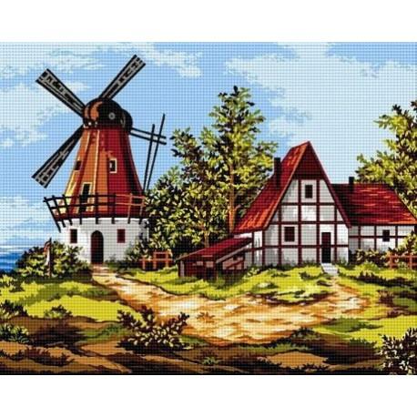 Гоблен Пейзаж с вятърна мелница